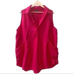 For Cynthia Sleeveless Linen Tunic Fuchsia Size 1X
